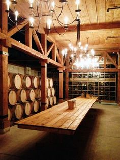 Oak Barrels Surrounded by Wood Trusses