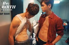 "NU'EST Aron and Ren Compete for ""Best Abs"" in Spoiler Pic for ""Re:BIRTH"" Album"