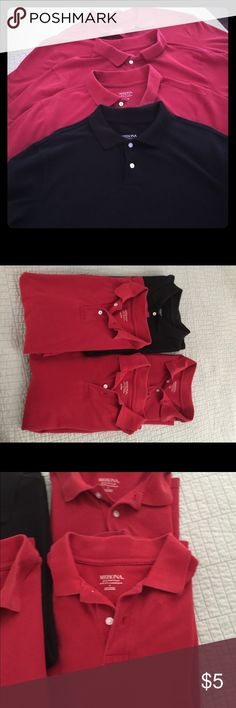 FOUR Merona Men's Polo Shirts Sz Large Lot of four men's polo shirts by Merona in size large; black worn once; red are in used but still fair condition Merona Shirts Polos