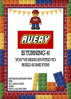 Printable Lego Party Lego Land Builder by WhimsicalPrintables, $15.00