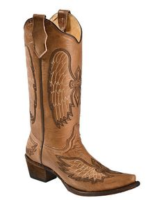 Circle G Cognac Wing & Cross Embroidered Cowgirl Boots - Snip Toe