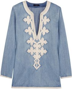 Love this: J.CREW Soutache embroidered Chambray Tunic @Lyst