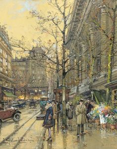 Eugène Galien-Laloue (French, 1854-1941) La Madeleine, Paris. Gouache on paper, 27 x 22 cm.