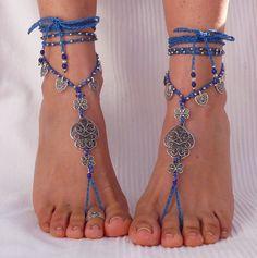 "FILIGREE  ""Heart of viana"" BAREFOOT SANDALS indigo blue foot jewelry hippie sandals toe anklet crochet sandals portuguese jewelry toe anklet"