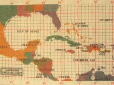Hurricane Tracking Map Cross Stitch Pattern | Cottage Nest