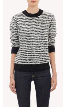 Barneys New York Stripe Bouclé Sweater