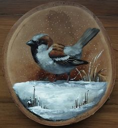 Wood Painting Art, Tole Painting, Wood Art, Art And Craft Design, Design Art, Art Pictures, Art Images, Fun Arts And Crafts, Bird Drawings