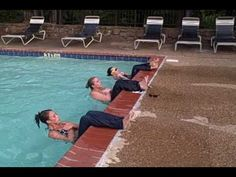 Bootcamp In The Pool: Here's a pool workout we did that was great strength & core circuit that you can modify from beginner to advanced level. Water Aerobics Routine, Water Aerobics Workout, Water Aerobic Exercises, Swimming Pool Exercises, Water Workouts, My Pool, Excercise, At Home Workouts, Cardio