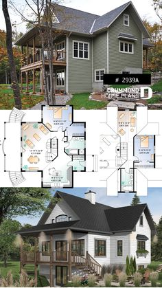 Discover the plan - Vistas 2 from the Drummond House Plans house collection. A-Frame cottage house plan, 2 bedrooms + loft, cathedral ceiling, walkout basement. Modern Tiny House, Modern House Plans, Small House Plans, Walkout Basement, Basement Ideas, Drummond House Plans, Lake House Plans, Cottage House Plans, Cottage Ideas