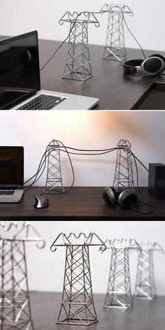 "Instead of hiding cords, use them as a decoration.... ""power lines"" in dedication to my mans new job... these are cool <3"