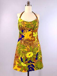 f064bc26255d 60s Vintage 1960s Surf Line Hawaiian Mini Sun Dress Casual Halter Floral 34  bust