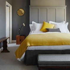 Discover bedroom ideas on HOUSE - design, food and travel by House & Garden. Mustard textiles complement grey walls in this London house.                                                                                                                                                     More