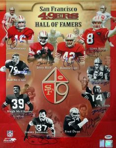 "SF 49ers Hall of Famers Autographed 16x20 Photo """"HOF Year"""" With 10 Signatures Including Joe Montana, Jerry Rice & Steve Young PSA/DNA"