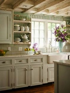 FRENCH COUNTRY COTTAGE: French Cottage Kitchen Inspiration Need some fresh and easy kitchen style ideas? I think we would all like to bring a little more charm into this utilitarian space. Here are a few easy kitchen. Kitchen Redo, Kitchen Styling, New Kitchen, Kitchen White, Kitchen Backsplash, Subway Backsplash, Kitchen Interior, Interior Walls, Backsplash Ideas
