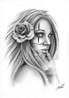 Chicano Tattoo payaso chica lámina brillante fantasía Emo