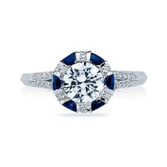 Simply Tacori collection half-moon sapphire and brilliant diamond round-cut engagement ring on platinum knife-edge band  See more Tacori engagement rings.