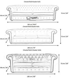 Wondering whether a stunning new chesterfield will fit in your home? Read on to find out the standard sizes of many chesterfield pieces. Chesterfield Furniture, Sofa Furniture, Furniture Design, Furniture Online, Leather Chesterfield, Furniture Movers, Furniture Companies, Discount Furniture, Sofa Layout