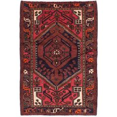 Ecarpetgallery Hand Knotted Persian Hamadan Blue And Red Wool Rug 4