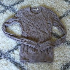 LOFT tan sweater ONLY WORN ONCE! This tan crew neck sweater features a great textured pattern LOFT Sweaters Crew & Scoop Necks