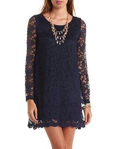Long Sleeve Scalloped Lace Shift Dress: Charlotte Russe