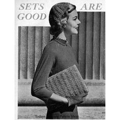 This charming accessory set includes both a calot and envelope handbag worked in shell stitch.  The crochet pattern is vintage 1950