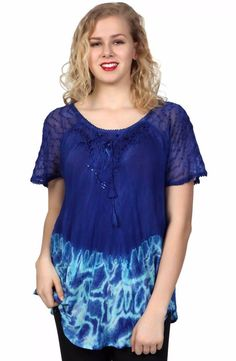 9afe9c7abba1cb Top Fits XL 1X Plus Blue Tie Dye Sequin Cotton Lace Sleeve Bell Shaped NWT  G7783