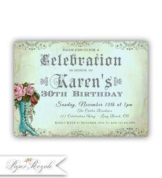Printable 30 invitation anniversaire / femme invitation anniversaire / adultes Invitations d'anniversaire / 30 des femmes anniversaire / imprimable ou imprimé #printables #invitations #printableinvitations #anniversaire #anniversary #cards #mariage #wedding #diy #diycrafts