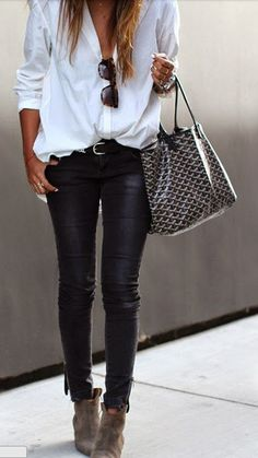 Love these leather pants paired with a flowy top!