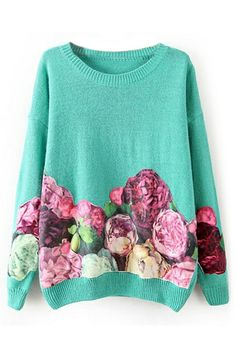 ROMWE Peony Appliqued Long Sleeves Blue Jumper at HelloShoppers
