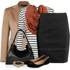 Striped Top, Chunky Scarf by uniqueimage Fall Outfits, Casual Outfits, Cute Outfits, Work Outfits, Tan Blazer Outfits, Camel Blazer, Beige Blazer, Work Fashion, Fashion Looks