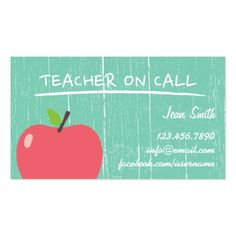 School Teacher Rustic Green Wood Big Apple Business Card Ecole Cartes De Presentation