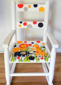 Handpainted Wooden Child's Rocking Chair rocking chair cradle Gone are the days when decorating was a one-and-accomplished deal. Painted Kids Chairs, Painted Rocking Chairs, Whimsical Painted Furniture, Childrens Rocking Chairs, Hand Painted Furniture, Funky Furniture, Art Furniture, Repurposed Furniture, Furniture Projects
