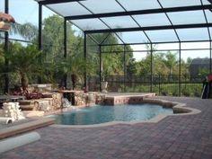 Screen enclosure rock water fall pool