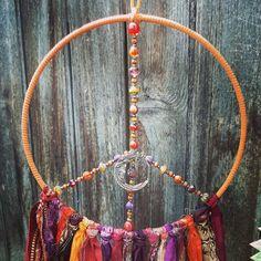 Spiritual Decor, Moon Decor, Dream Catcher Boho, Hippie Art, Moon Art, Czech Glass Beads, Healing Stones, Fall Decor, Boho Dreamcatcher