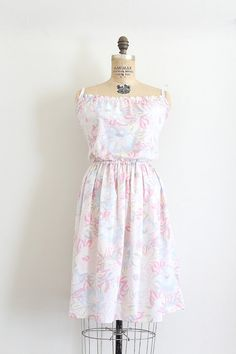 vintage 1970s dress  // 70s pink floral day dress // by TrunkofDresses
