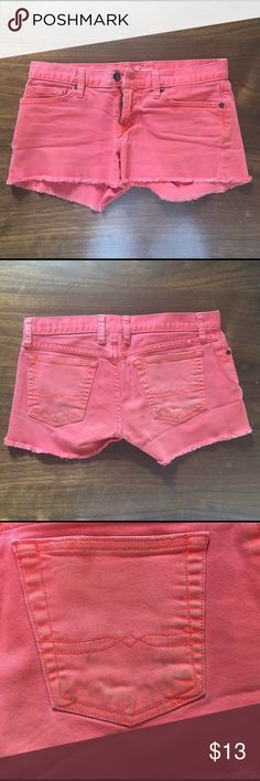 Lucky Brand Coral Orange Denim Jean Riley Shorts Beautiful spring or summer coral orange 🍊 there is a little wear on the booty/pockets as pictured. Minimal fringe edge size 2 or 26 Lucky Brand Jeans