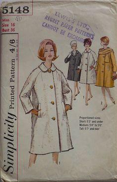 Vintage Sewing Pattern. Simplicity 5148. by IsellVintagePatterns