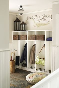 """""""Back Door Guests are the best"""".. that is hilarious, I still like this setup for a mud room"""