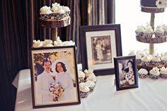 Vintage wedding pictures as decoration reception decor entry way display