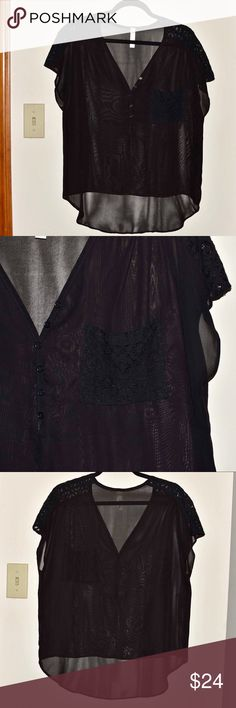 Nasty Gal Black Sheer Top Sheer, black top with lace detail on pocket and shoulders. Looks great with a black cami underneath. Nasty Gal Tops Blouses