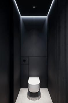 Designed by hilight. Located in Warsaw, Poland. Washroom Design, Bathroom Design Luxury, Modern Bathroom Design, Modern Toilet Design, Bathroom Designs Images, Small Toilet Room, Small Bathroom, Rv Bathroom, Bathroom Ideas