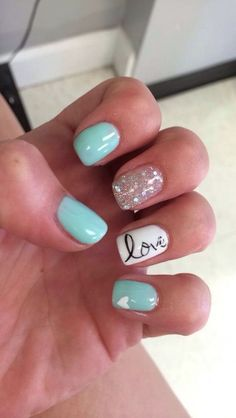 Cute gel nail designs for short nails trendy 20 tiffany blue nail art desgins for summer Fancy Nails, Love Nails, Trendy Nails, How To Do Nails, My Nails, Teal Nails, Mint Green Nails, Cute Gel Nails, Nail Bling