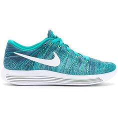 Nike Lunarepic Flyknit Low Sneakers ($194) ❤ liked on Polyvore featuring shoes, sneakers, flyknit sneakers, green shoes, laced shoes, nike shoes and lacing sneakers