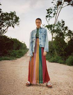 "Gucci dress, <em>$3,690, Gucci Fifth Avenue, New York,</em> Denim & Supply Ralph Lauren jacket, <em>$145, <a href=""http://www.ralphlauren.com/home/index.jsp?direct"" target=""_blank"" class=""icon none"" >ralphlauren.com</a>,</em> Re/Done Levi's jeans (worn underneath), <em>$315, <a href=""http://shopredone.com/"" target=""_blank"" class=""icon none"" >shopredone.com</a>,</em> and Hilfiger Collection sandals, <em>$260, Tommy Hilfiger, 212-223-1824</em>"