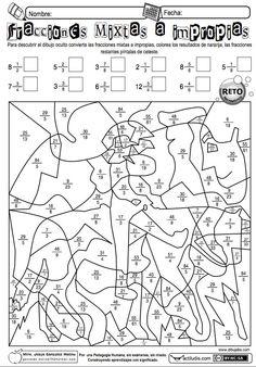 Jesús González Molina de la Escuela Primaria Vicente Guerrero, desde Los Placeres del Oro, Guerrero, México, comparte una ficha para pasar de fracciones mixtas a impropias. También dispones de otra...: