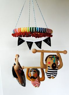 Baby Mobile  Strong Men Made to order by PinkCheeksStudios on Etsy, $125.00
