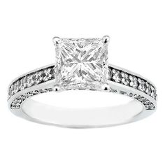Princess Diamond Engagement Ring Three sides pave diamond band 0.58 tcw. In 14K White Gold