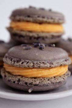 Lavender Macarons with Orange Honey Buttercream Filling