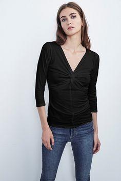 VELVET PETRI KNOT FRONT TOP. #velvet #cloth #
