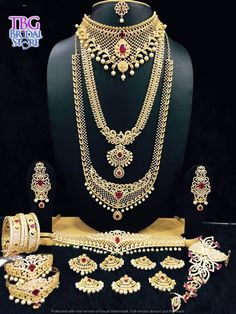 Stunning bridal jewelry in a real intricate design with an ultimate trend setting pattern made elegantly. Choose from a large collection of Bridal Jewels at TBG Bridal Store at very affordable rent. South Indian Bridal Jewellery, Indian Wedding Jewelry, Jewelry Design Earrings, Gold Jewelry, Anklet Designs, Fancy Jewellery, Jewelry Collection, Diamonds, Weddings
